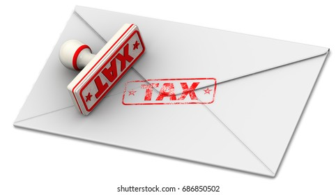 """Tax. Seal and imprint on closed postal envelope. Red seal and imprint """"TAX"""" on the closed postal envelope. Isolated. 3D Illustration"""