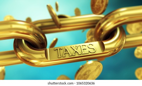 Tax symbol on gold chain with falling coins. Finance and investment 3D illustration concept.