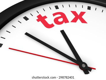 Taxation time conceptual image with a wall clock and tax word printed in red.