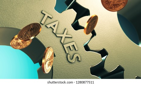 Taxes Concept 3D illustration Gears with Falling Gold Coins