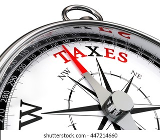 taxes red word on concept compass, isolated on white background