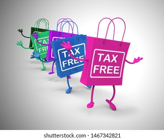 Tax-free concept icon means no customs duty required. Untaxed and exempted shopping zone - 3d illustration