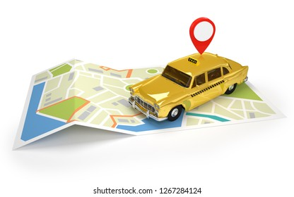 Taxi cab with GPS icon on a city map / 3D illustration