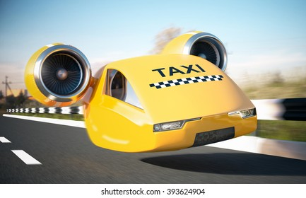 Taxi car cab on road. 3D illustration