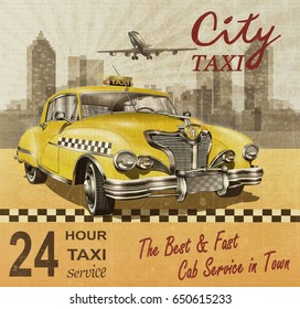 Taxi card with  retro yellow taxi.