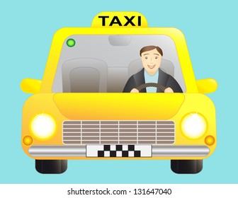 taxi and driver man