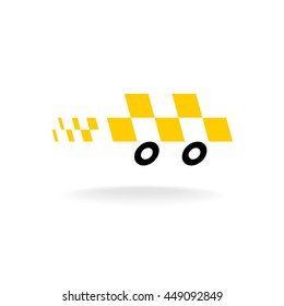 Taxi logo. Checkers symbol. Moving dynamic auto car silhouette with black wheels.