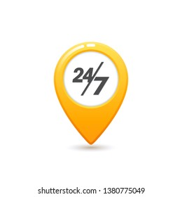 Taxi service 24 7 icon, Flat style Yellow taxi icon. Map pin with 24 7 letter sign. Yellow taxi icon on white background.