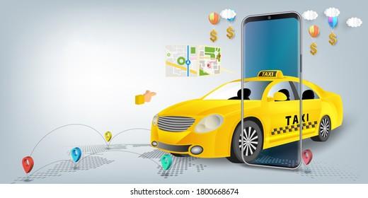 Taxi services mobile app website. application on smartphone. Webpage, app design. 3d illustration.