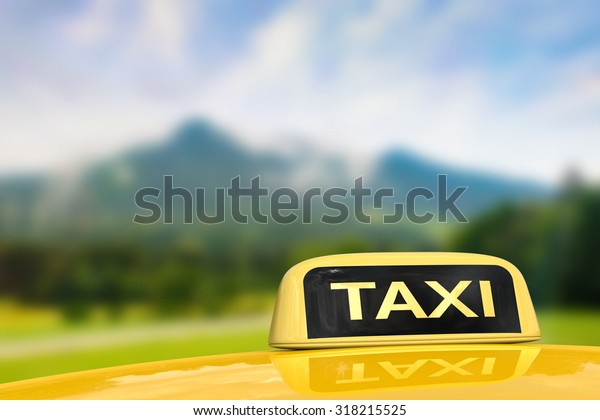 taxi for traveling with nature background illustration