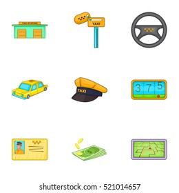 Taxi Trip Icons Set Cartoon Illustration Of 9 For Web