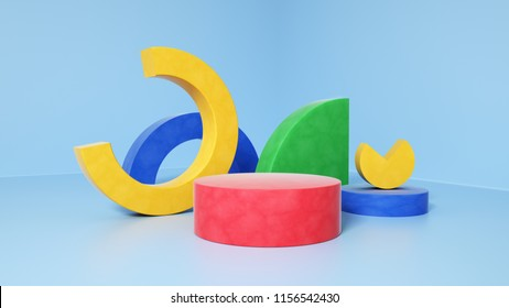 TBILISI, GEORGIA 15 AUGUST 2018, 3d rendering abstract composition. Geometric shapes on white background for product presentation or mockup. Minimalistic design with empty space. Platform colorful