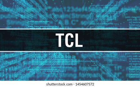 Tcl with Digital java code text. Tcl and Computer software coding vector concept. Programming coding script java, digital program code with Tcl on screen illustration