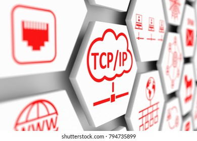TCP IP concept cell blurred background 3d illustration