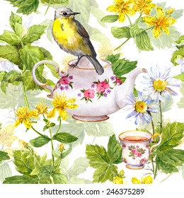 Tea background - tea pot, tea cup and cute bird in herbs and flowers. Watercolor repeating pattern