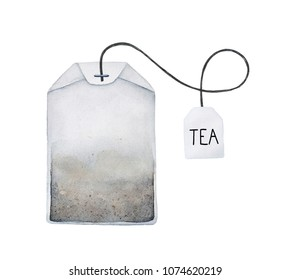 """Tea bag watercolour illustration. Filter paper, string, square label and word """"TEA"""" on it. One single object, top view. Handdrawn water color graphic painting on white background, cutout clip art."""