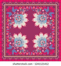 Tea box design, bandana print or beautiful square carpet with mandala, flowera, butterflies, paisley and ornamental frame in indian style.