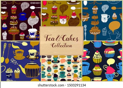 Tea and cakes collection. Seamless patterns and docorative elements.