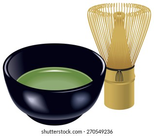 """Tea ceremony set of Japan. Illustration/ Tea whisk and Teacup. Japanese culture. The name of the drink is called """"matcha"""" in Japanese. Matcha is a powdered green tea."""