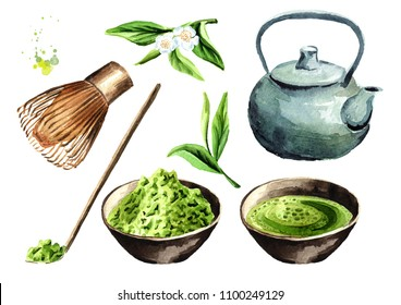 Tea ceremony set. Matcha powder, tea pot, cup of traditional Organic Green matcha,  bamboo whisk, wooden spoon. Watercolor hand drawn illustration,  isolated on white background