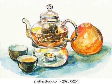 tea ceremony. Watercolor illustration