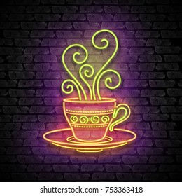 Tea or Coffee House Singboard Template with Cup and Swirl Hot Steam. Cafe Label, Eatery, Restaurant. Shiny Neon Light Style. Advertisement Flyer. Vector 3d Illustration. Abstract Decorative Art
