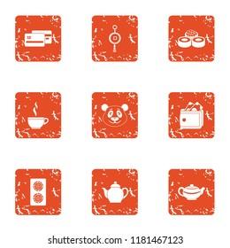 Tea daytime icons set. Grunge set of 9 tea daytime icons for web isolated on white background