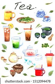 Tea illustration watercolor hand painting  set.