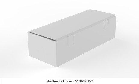 Tea packaging Blank paper box, cardboard container full of rectangular tea bags. Food product advertising mock up template. 3d illustration
