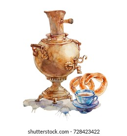 Tea in Russian. Samovar and a cup of tea. Watercolor illustration isolated on a white background.