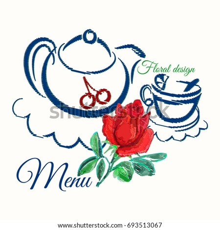 Tea Time Banner Teapot And Cup Of Or Coffee Embroidered On White Background