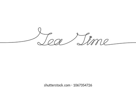 TEA TIME handwritten inscription. Hand drawn lettering. alligraphy. One line drawing of phrase.