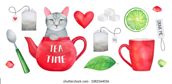 """Tea Time"" Watercolor Set. Cute pet character in teapot, sugar, candies, lemon, dessert spoon, teabags, love heart, teacup, paper label ""Drink Me"". Hand drawn water color on white, isolated elements."