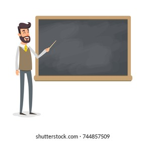 The teacher in the classroom near the blackboard is teaching a lesson. A young fashion professor at the university is giving a lecture. A man with a beard with a pointer teaches.
