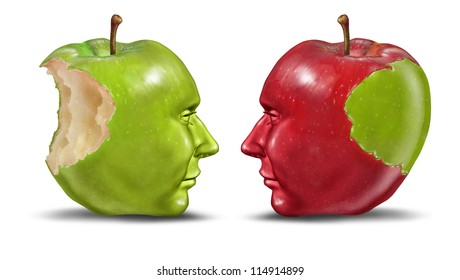 Teaching a student education concept with green and red apples shaped as human heads exchanging knowledge and skill from teacher to trainee on a white background or the idea of identity theft.