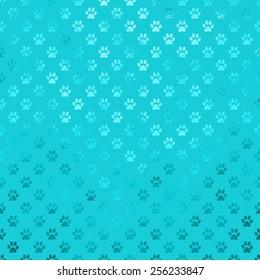Teal Aqua Blue Turquoise Dog Paws Metallic Foil Polka Dot Texture Background Pattern