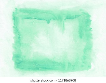 Teal or aquamarine horizontal  watercolor gradient  hand drawn  background. Middle part is lighter than other sides of image.
