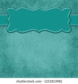 Teal background with header banner with copy space for your message 3D Illustration