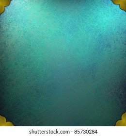 teal blue background with top corner lighting, old sponge grunge texture,  gold trim accent on border of frame, has copy space
