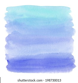 Teal Blue Ombre Watercolor Wash Background