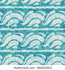 Teal blue water wave weathered grunge nautical texture background. Summer coastal living style home decor tile. Ocean sea swirl grunge material. Worn turquoise dyed beach textile seamless pattern.Teal