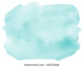Teal Blue Watercolor Hand Painted Background