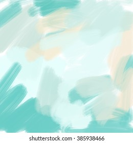 Teal and Green Abstract Painted Background. Modern Art Background