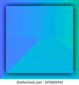 teal turquoise fresh color square frame background in center with light triangle structure for copy space.