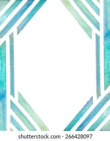 Teal Watercolor Geometric Lines Frame