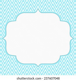 Teal and White Chevron Zigzag Frame Background with center for copy-space, Classic Chevron Zigzag Frame