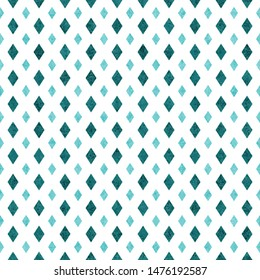 Teal and white diamond abstract geometric seamless and repeat textured pattern background 3D Illustration