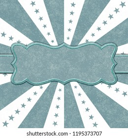 Teal and white stars and burst lines to center background with ribbon for you message 3D Illustration