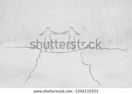 Team 2 People Walking On Tightrope Stock Illustration Royalty Free