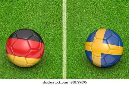 Team balls for a Germany vs Sweden soccer tournament match